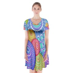 India Ornaments Mandala Balls Multicolored Short Sleeve V Neck Flare Dress by EDDArt