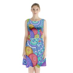 India Ornaments Mandala Balls Multicolored Sleeveless Chiffon Waist Tie Dress by EDDArt