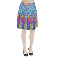 India Ornaments Mandala Balls Multicolored Pleated Skirt by EDDArt