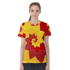 Flower Blossom Spiral Design  Red Yellow Women s Cotton Tee by designworld65