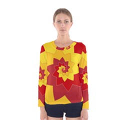 Flower Blossom Spiral Design  Red Yellow Women s Long Sleeve Tee by designworld65