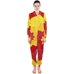 Flower Blossom Spiral Design  Red Yellow Hooded Jumpsuit (ladies)  by designworld65
