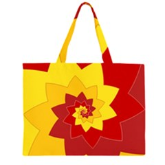 Flower Blossom Spiral Design  Red Yellow Zipper Large Tote Bag by designworld65