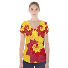 Flower Blossom Spiral Design  Red Yellow Short Sleeve Front Detail Top by designworld65
