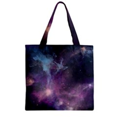 Blue Galaxy  Zipper Grocery Tote Bag by DanaeStudio