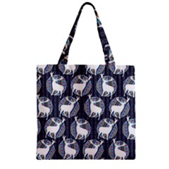 Geometric Deer Retro Pattern Zipper Grocery Tote Bag by DanaeStudio