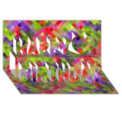 Colorful Mosaic Happy Birthday 3d Greeting Card (8x4) by DanaeStudio