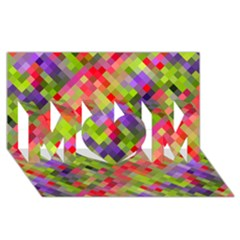 Colorful Mosaic Mom 3d Greeting Card (8x4) by DanaeStudio
