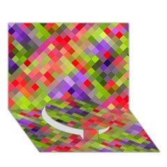 Colorful Mosaic Circle Bottom 3d Greeting Card (7x5) by DanaeStudio