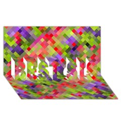 Colorful Mosaic Best Sis 3d Greeting Card (8x4) by DanaeStudio