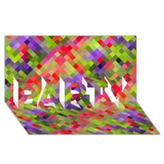 Colorful Mosaic Party 3d Greeting Card (8x4) by DanaeStudio