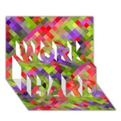 Colorful Mosaic Work Hard 3d Greeting Card (7x5) by DanaeStudio