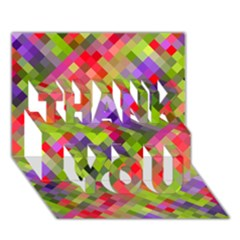Colorful Mosaic Thank You 3d Greeting Card (7x5) by DanaeStudio