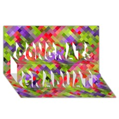 Colorful Mosaic Congrats Graduate 3d Greeting Card (8x4) by DanaeStudio