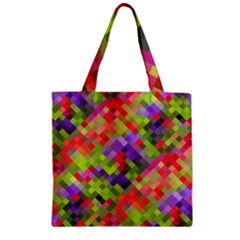 Colorful Mosaic Zipper Grocery Tote Bag by DanaeStudio