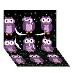 Halloween Purple Owls Pattern Clover 3d Greeting Card (7x5) by Valentinaart