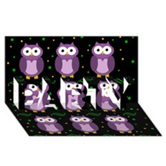 Halloween Purple Owls Pattern Party 3d Greeting Card (8x4) by Valentinaart