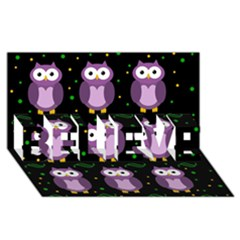 Halloween Purple Owls Pattern Believe 3d Greeting Card (8x4) by Valentinaart