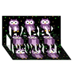 Halloween Purple Owls Pattern Happy New Year 3d Greeting Card (8x4) by Valentinaart
