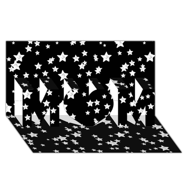 Black And White Starry Pattern MOM 3D Greeting Card (8x4)
