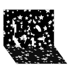 Black And White Starry Pattern Love 3d Greeting Card (7x5) by DanaeStudio
