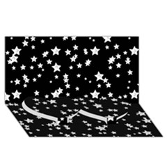 Black And White Starry Pattern Twin Heart Bottom 3d Greeting Card (8x4) by DanaeStudio