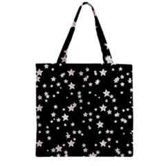 Black And White Starry Pattern Zipper Grocery Tote Bag by DanaeStudio