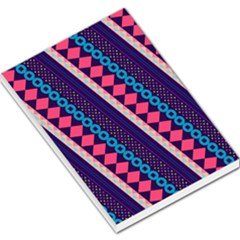 Purple And Pink Retro Geometric Pattern Large Memo Pads by DanaeStudio