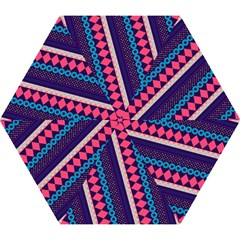 Purple And Pink Retro Geometric Pattern Mini Folding Umbrellas by DanaeStudio