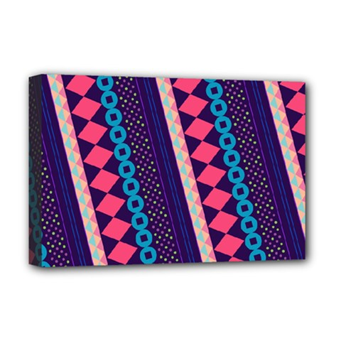 Purple And Pink Retro Geometric Pattern Deluxe Canvas 18  X 12   by DanaeStudio