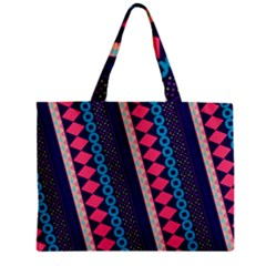 Purple And Pink Retro Geometric Pattern Mini Tote Bag by DanaeStudio