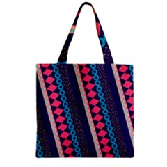 Purple And Pink Retro Geometric Pattern Zipper Grocery Tote Bag by DanaeStudio