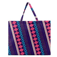 Purple And Pink Retro Geometric Pattern Zipper Large Tote Bag by DanaeStudio