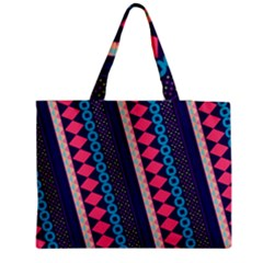 Purple And Pink Retro Geometric Pattern Medium Zipper Tote Bag by DanaeStudio