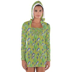 Tropical Floral Pattern Women s Long Sleeve Hooded T Shirt by dflcprintsclothing