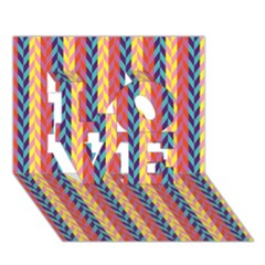 Colorful Chevron Retro Pattern Love 3d Greeting Card (7x5) by DanaeStudio