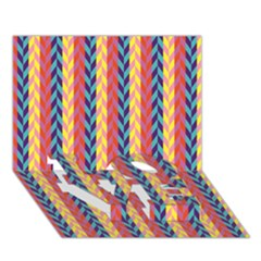 Colorful Chevron Retro Pattern Love Bottom 3d Greeting Card (7x5) by DanaeStudio