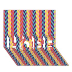 Colorful Chevron Retro Pattern Hope 3d Greeting Card (7x5) by DanaeStudio