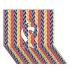 Colorful Chevron Retro Pattern Ribbon 3d Greeting Card (7x5) by DanaeStudio