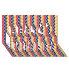 Colorful Chevron Retro Pattern Best Wish 3d Greeting Card (8x4) by DanaeStudio