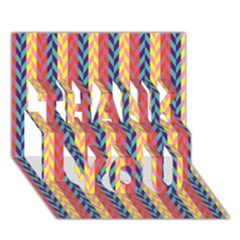 Colorful Chevron Retro Pattern Thank You 3d Greeting Card (7x5) by DanaeStudio