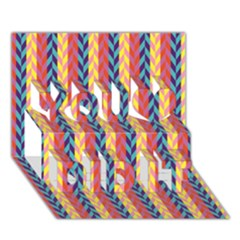 Colorful Chevron Retro Pattern You Did It 3d Greeting Card (7x5) by DanaeStudio