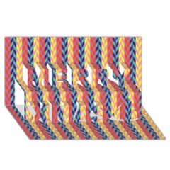 Colorful Chevron Retro Pattern Merry Xmas 3d Greeting Card (8x4) by DanaeStudio