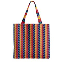 Colorful Chevron Retro Pattern Zipper Grocery Tote Bag by DanaeStudio