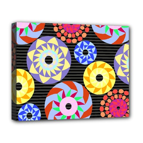 Colorful Retro Circular Pattern Deluxe Canvas 20  x 16