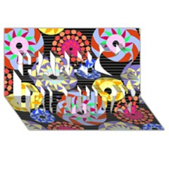 Colorful Retro Circular Pattern Happy Birthday 3D Greeting Card (8x4)
