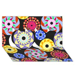 Colorful Retro Circular Pattern Twin Hearts 3d Greeting Card (8x4) by DanaeStudio