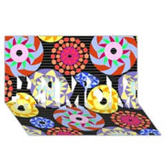 Colorful Retro Circular Pattern #1 Mom 3d Greeting Cards (8x4) by DanaeStudio