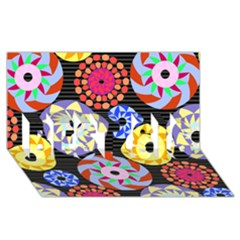 Colorful Retro Circular Pattern Best Sis 3d Greeting Card (8x4) by DanaeStudio