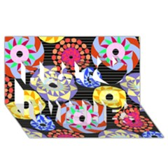 Colorful Retro Circular Pattern Best Wish 3d Greeting Card (8x4) by DanaeStudio